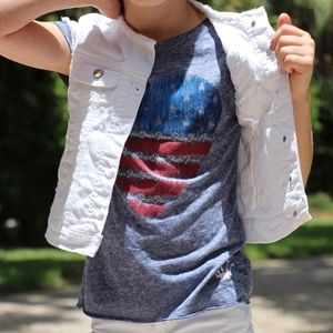 Gap Kids White Denim Sleeveless Vest